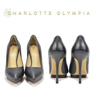 Charolette Olympia Debbie Black Leather Heel Pumps